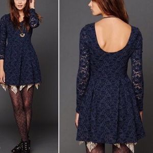Free People Dress size XS Navy Lace Skater Circle